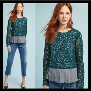 Anthropologie Maeve Gingham & Lace Top